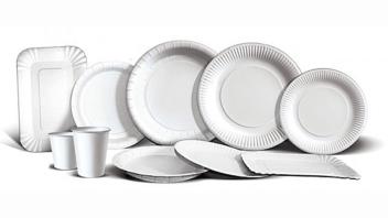 Белая бумажная посуда